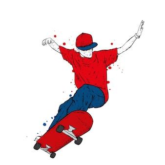 スタイリッシュな服を着たスケーターの男