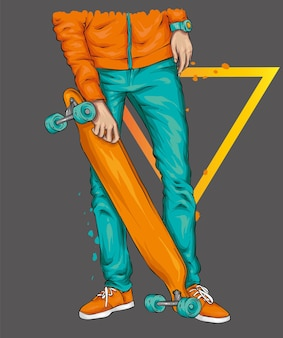 청바지 스니커즈와 스케이트 보드를 입은 스케이터