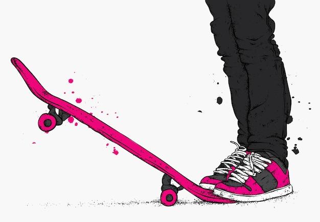 Фигуристка в стильной одежде и скейтборде