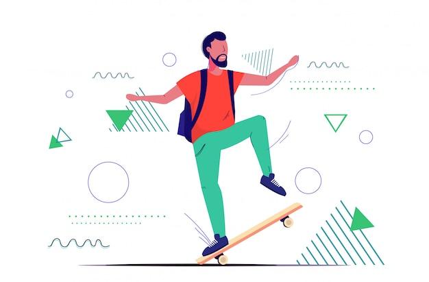 Фигурист прыгает на скейтборде выполняет трюки концепция скейтбординга мужчина подросток