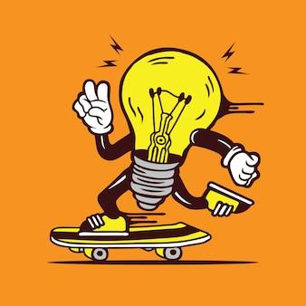 Skater light bulb shine skateboarding character design