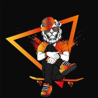 청바지 스니커즈와 스케이트 보드를 입은 스케이터 사자