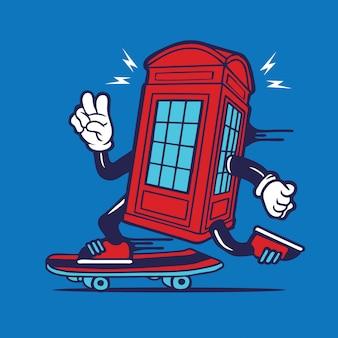 Skater london phone booth box united kingdom skateboarding character design
