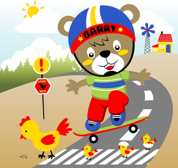 道路上のスケーター、ベクトル漫画のイラスト