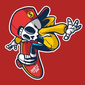 Skater skull cartoon character