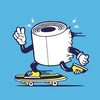 Skater tissue roll toilet paper skateboarding character design