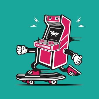 Ретро игра аркада skater скейтборд дизайн персонажей