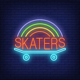 Skaters neon word on skateboard logo. neon sign, night bright advertisement