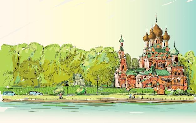 Skecth городского пейзажа в москве, россия, православная церковь вдоль реки с людьми, идущими по пути общественного пространства, иллюстрация