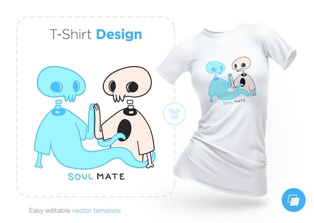 スケルトンとゴーストのtシャツのデザイン。洋服、ポスター、お土産にプリント。図