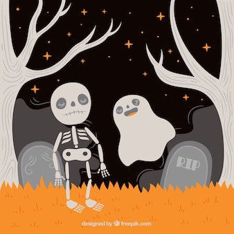 Skeleton background with ghost in the cemetery