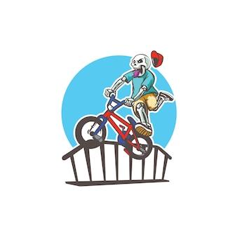 해골 자전거 마스코트 로고 템플릿 - 벡터 이미지