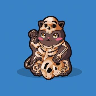 해골 고양이 귀여운 재미 있은 캐릭터 할로윈 의상