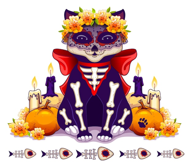 Skeleton cat symbol holiday day of dead in mexico. dia de muertos greeting card template
