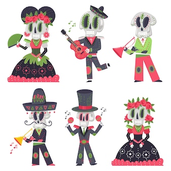 Skeleton characters vector cartoon set for day of the dead holiday isolated on a white space.