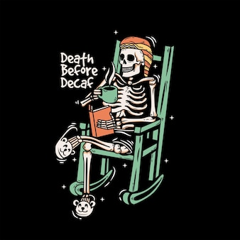 Скелет холодно сидеть на стуле с чашкой кофе