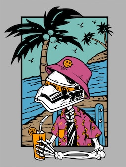 Skeleton chilling with cocktail at the beach