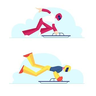 스켈레톤 대회. 내리막 길을 타기 위해 썰매를 타고 점프하는 헬멧의 프로 스포츠맨. 만화 평면 그림