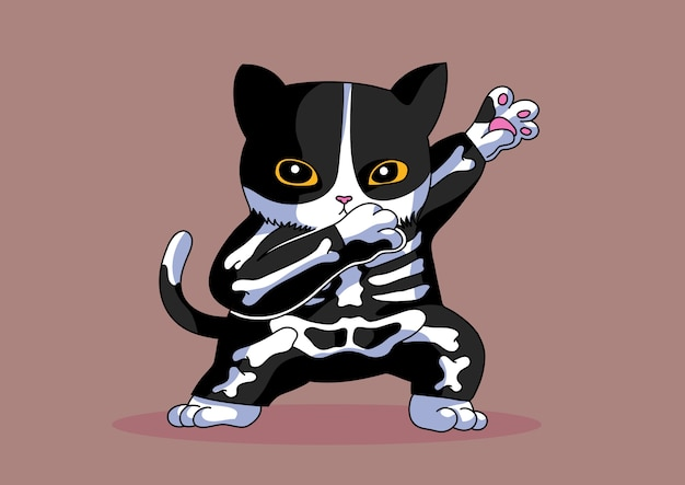 Skeleton costume cat dabbing style halloween funny cute