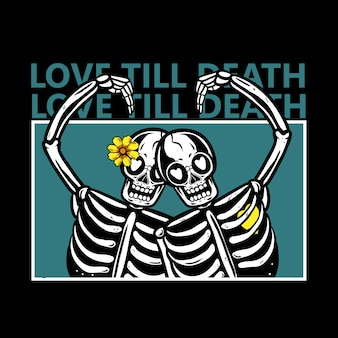 Skeleton couples in love with flowers on head illustration