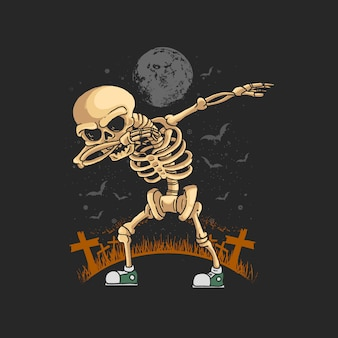Skeleton dabbing dance illustration  graphic