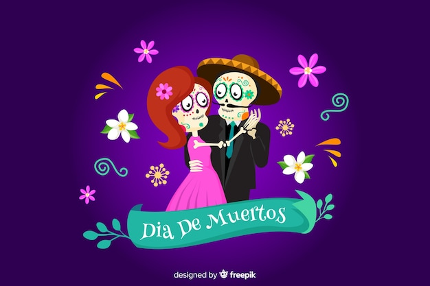 Skeleton dancing on dia de muertos background