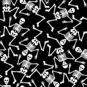 Skeleton dancing ghostly dead figure vector seamless pattern