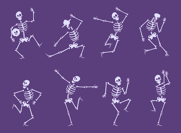 Скелет танцует. партия забавных персонажей танцоров ставит на набор векторных костей черепа вечеринки в честь хэллоуина. иллюстрация скелетного тела, хэллоуин страшно и ужас