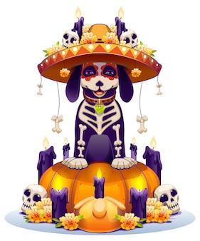 Skeleton dog and pumpkin lantern symbol holiday day of dead in mexico dia de muertos