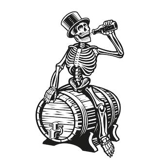 Skeleton drinking a bottle of beer sitting on a barrel