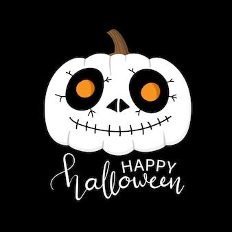Skeleton face paint on halloween pumpkin