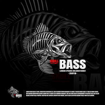 Skeleton fish bass sport team logo template