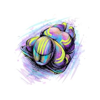 Скелет из брызг акварели. ручной обращается эскиз. зимний спортивный спуск на санях. иллюстрация красок