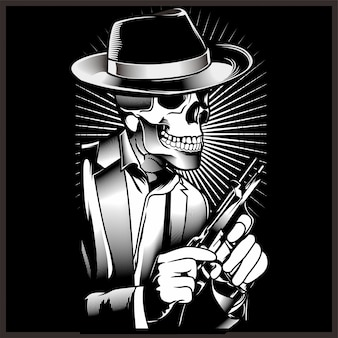 Skeleton gangster with revolvers in suit.