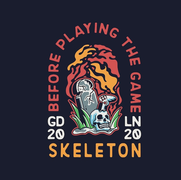Skeleton hand gamer with joy stick and headstone