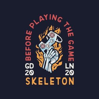 Skeleton hand gamer with joy stick