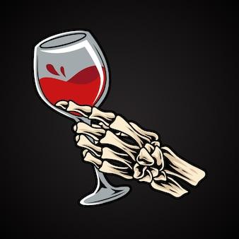 Skeleton hand holding glass