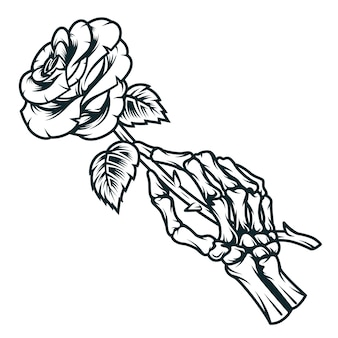 Skeleton hand holding rose flower
