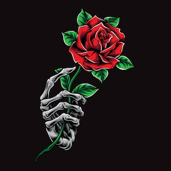 Skeleton hand holding rose