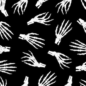 Skeleton hand seamless pattern