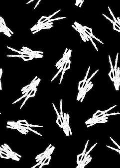 Skeleton hand seamless pattern