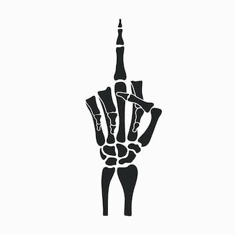 スケルトンの手は中指のジェスチャーを示しています。ベクトルイラスト。