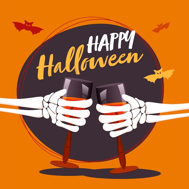 Skeleton hands holding wine glass with bats flying on purple and orange background.