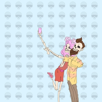 Skeleton hipster couple taking selfie