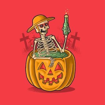 Скелет отдых купание с пивом
