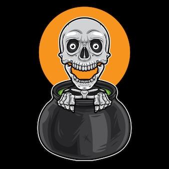 Skeleton in a Big Pot