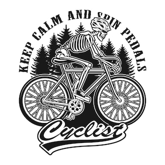 Skeleton is riding a bicycle black and white illustration. layred