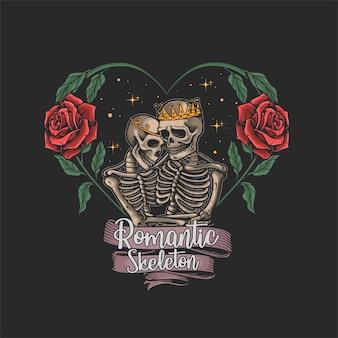 Skeleton in love flower frame illustration