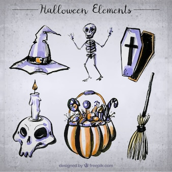 Skeleton and other spooky elements