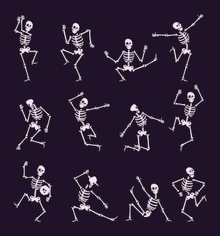 해골 파티. 해골과 뼈가 있는 언데드 할로윈 댄서는 재미있는 포즈 벡터 캐릭터 컬렉션을 가지고 있습니다. 해골 할로윈 언데드, 점프 해골 그림